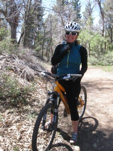 Cathleen Calkins on a group mountain bike
